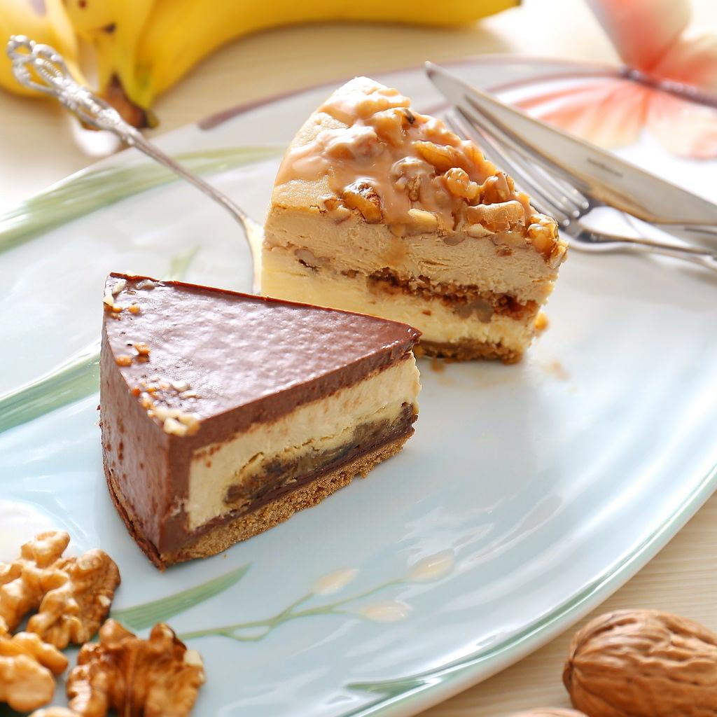 品好乳酪蛋糕,雙拼組合,ILLY核桃雙層,貝禮詩香蕉生巧